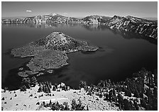 Lake and Wizard Island. Crater Lake National Park ( black and white)