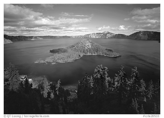 Wide view of lake with Wizard Island, afternoon. Crater Lake National Park (black and white)