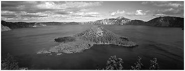 Lake and Wizard Island, afternoon. Crater Lake National Park (Panoramic black and white)