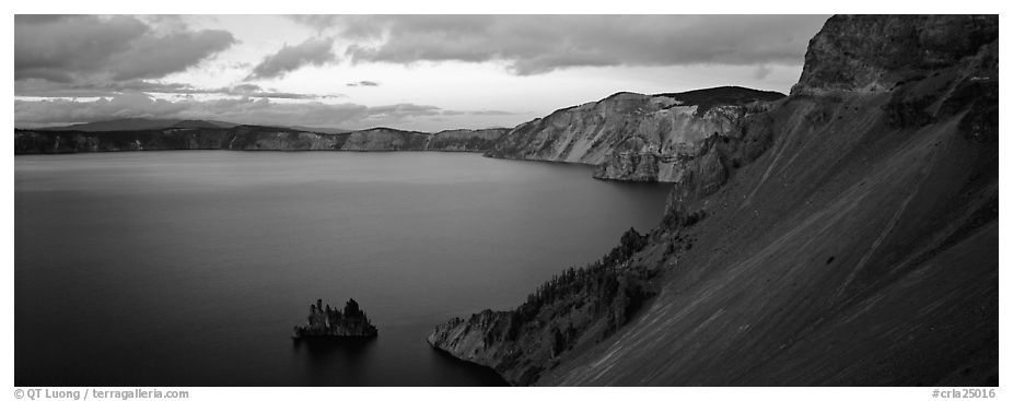 Lake and cliffs, evening. Crater Lake National Park (black and white)