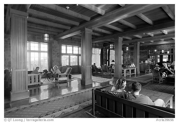 Main lobby of Crater Lake Lodge. Crater Lake National Park (black and white)