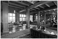 Main lobby of Crater Lake Lodge. Crater Lake National Park, Oregon, USA. (black and white)