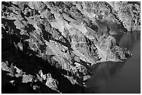 Volcanic cliffs below Hillman Peak, afternoon. Crater Lake National Park ( black and white)