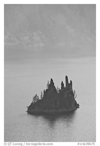 Phantom ship and cliffs. Crater Lake National Park (black and white)
