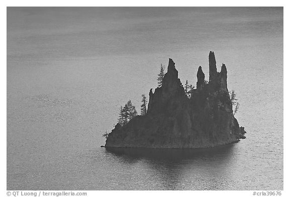 Phantom Ship. Crater Lake National Park (black and white)