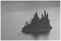Phantom Ship. Crater Lake National Park, Oregon, USA. (black and white)