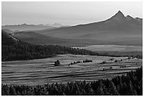 Meadows and Mt Bailey in the distance. Crater Lake National Park ( black and white)