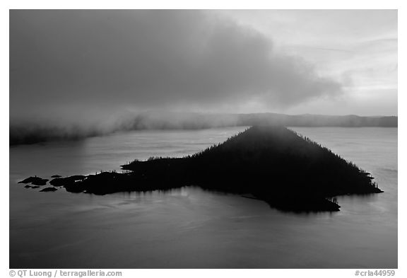 Cloud above Wizard Island at dawn. Crater Lake National Park (black and white)