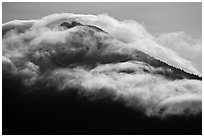 Clouds formed by high winds over Mt Scott. Crater Lake National Park ( black and white)