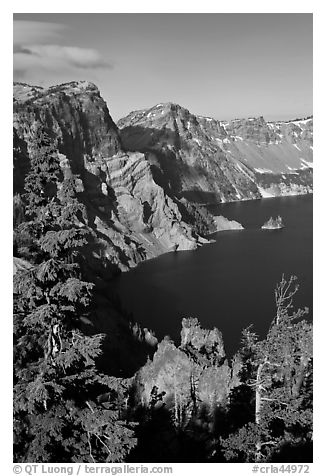 Dutton Cliff and lake. Crater Lake National Park (black and white)