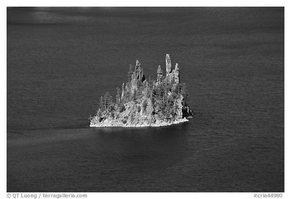 Phantom ship and blue waters. Crater Lake National Park (black and white)