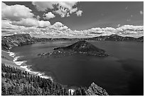 Deep blue lake and clouds. Crater Lake National Park ( black and white)