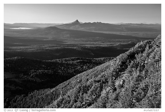 Diamond Lake and Mt Thielsen seen from Mount Scott. Crater Lake National Park (black and white)