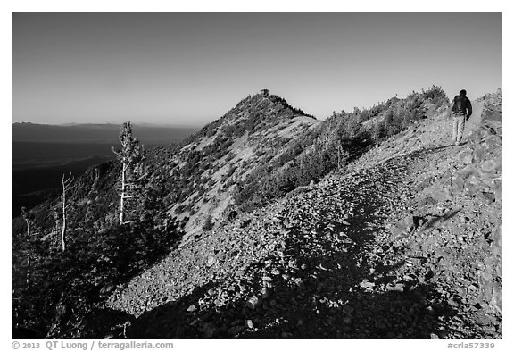 Hiker approachng Mount Scott summit. Crater Lake National Park (black and white)