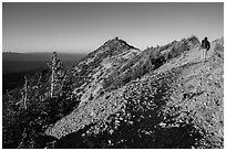 Hiker approachng Mount Scott summit. Crater Lake National Park ( black and white)