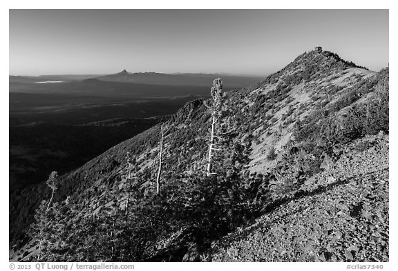 Mount Scott summit ridge, looking North. Crater Lake National Park (black and white)