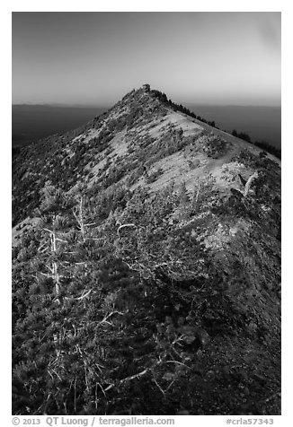 Mount Scott summit and fire lookout at sunset. Crater Lake National Park (black and white)
