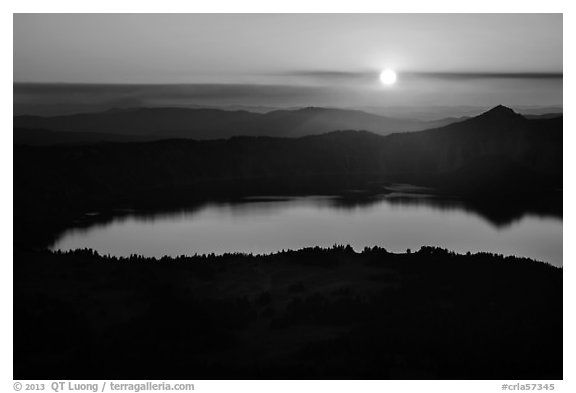 Crater Lake with setting sun from Mount Scott. Crater Lake National Park (black and white)