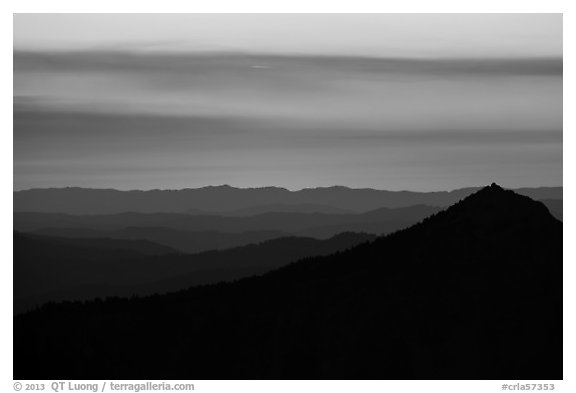 Llao Rock, and mountain ridges at sunset. Crater Lake National Park (black and white)