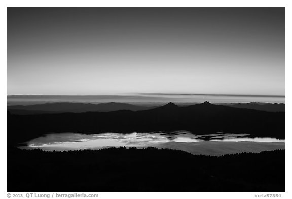 Crater Lake and western sky after sunset. Crater Lake National Park (black and white)
