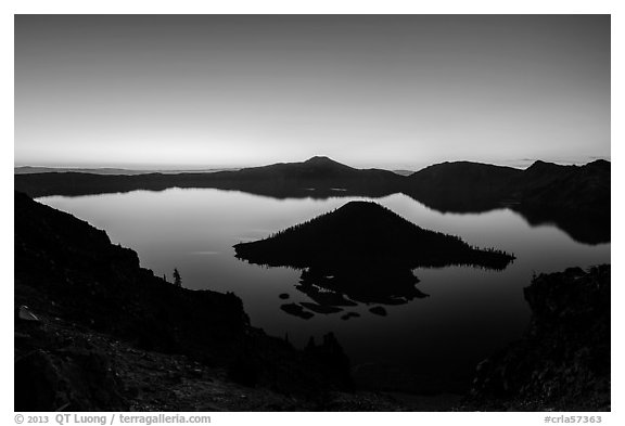 Wizard Island and Crater Lake at dawn. Crater Lake National Park (black and white)
