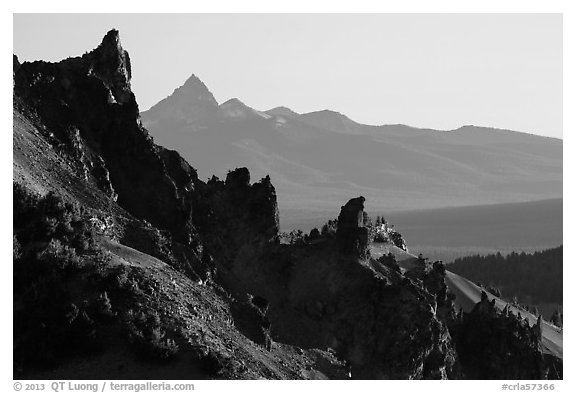 Volcanic spires. Crater Lake National Park (black and white)