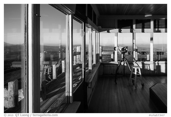 Interior of active fire lookout on Watchman. Crater Lake National Park (black and white)