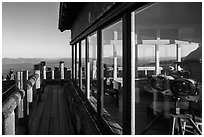 Binoculars, Watchman fire lookout. Crater Lake National Park ( black and white)