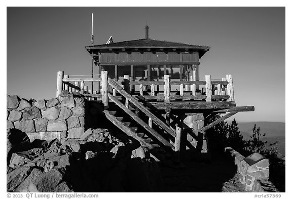 Fire lookout, the Watchman. Crater Lake National Park (black and white)