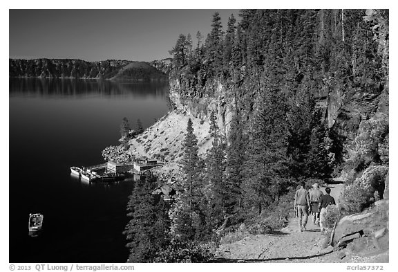 Cleetwood Cove trail and deck. Crater Lake National Park (black and white)