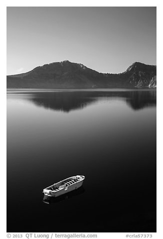 Tour boat, Cleetwood Cove. Crater Lake National Park (black and white)