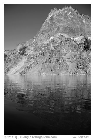 Llao Rock and reflection. Crater Lake National Park (black and white)