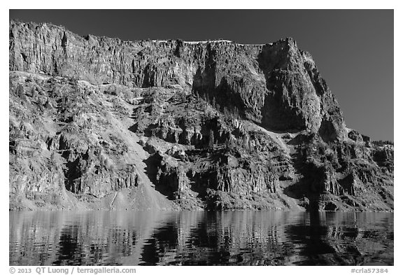 Tall cliffs of Llao Rock and Llao Bay. Crater Lake National Park (black and white)