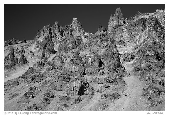 Tall volcanic dikes. Crater Lake National Park (black and white)
