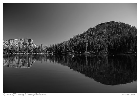 Reflections of Wizard Island and Llao Rock. Crater Lake National Park (black and white)