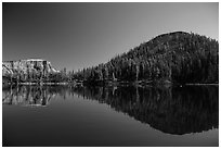 Reflections of Wizard Island and Llao Rock. Crater Lake National Park ( black and white)
