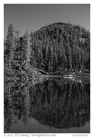 Wizard Island's cinder cone reflected in Governors Bay. Crater Lake National Park (black and white)