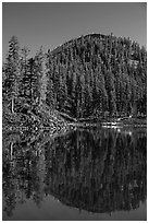 Wizard Island's cinder cone reflected in Governors Bay. Crater Lake National Park ( black and white)