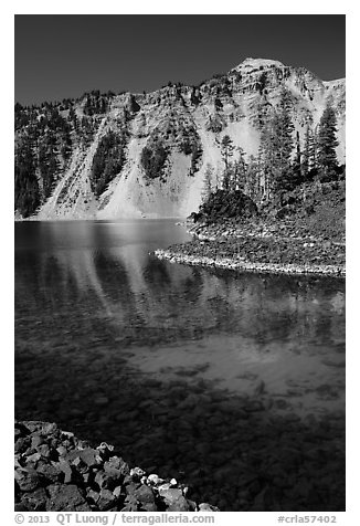 Watchman reflected in Fumarole Bay emerald waters, Wizard Island. Crater Lake National Park (black and white)