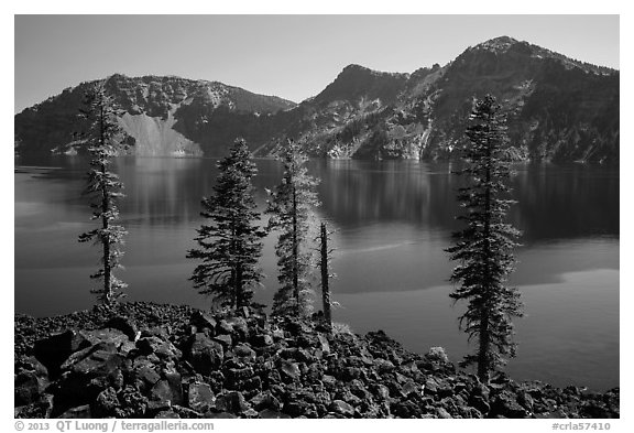 Hardened lava flow, Governors Bay, and Garfield Peak from Wizard Island. Crater Lake National Park (black and white)
