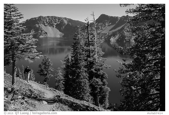 Hiker on Wizard Island. Crater Lake National Park (black and white)