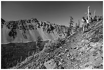 Hikers near Wizard Island summit. Crater Lake National Park ( black and white)