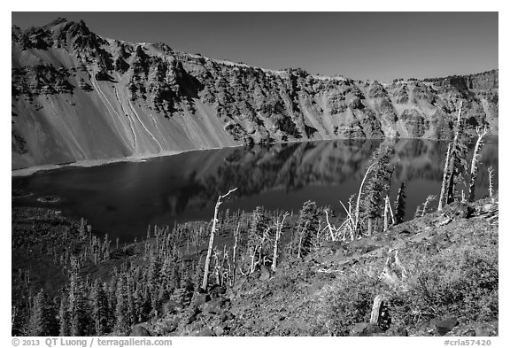 Skell Channel from top of Wizard Island cinder cone. Crater Lake National Park (black and white)