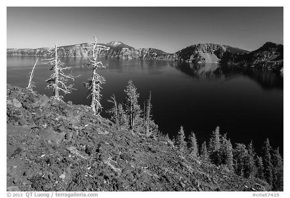 Red cinders and ash on Wizard Island. Crater Lake National Park (black and white)