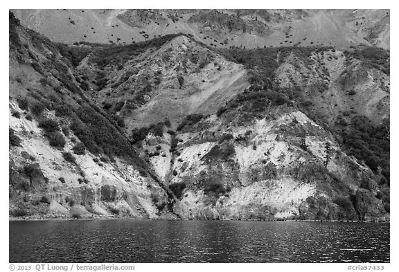 Chaski Slide seen from lake. Crater Lake National Park (black and white)
