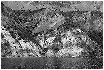 Chaski Slide seen from lake. Crater Lake National Park ( black and white)