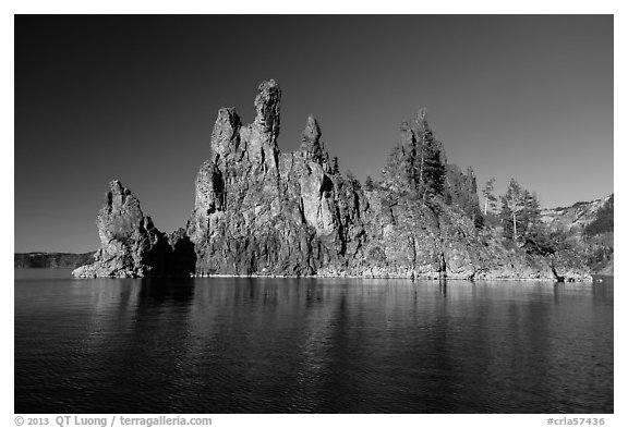 Phantom Ship seen from lake. Crater Lake National Park (black and white)