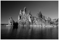 Phantom Ship seen from lake. Crater Lake National Park ( black and white)