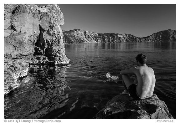 Men swimming in lake, Cleetwood Cove. Crater Lake National Park (black and white)