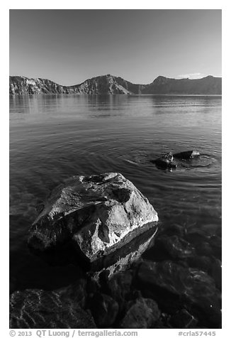 Rocks in lake, Cleetwood Cove. Crater Lake National Park (black and white)